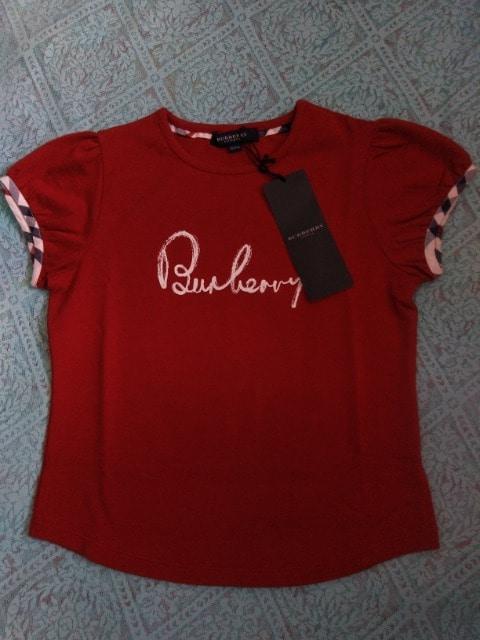 新品 Burberry 女の子120Aサイズ パフスリーブ Tシャツ レッド
