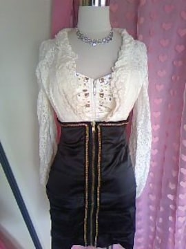 RICHE高級2ピースドレススーツキラキラビジュ&レース透ハイウエストタイトスカート