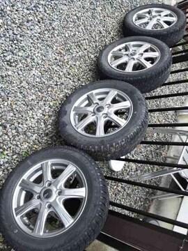155/65R13新品スタッドレスタイヤ中古アルミホイールワゴンRムーブインチダウン