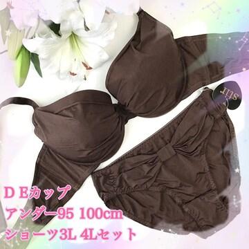 D100 4L☆シームレスブラウン ブラ&ショーツ グラマー