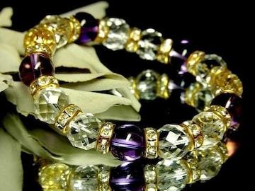 64面カット水晶10ミリ§アメジスト紫水晶10ミリ金ロンデル数珠