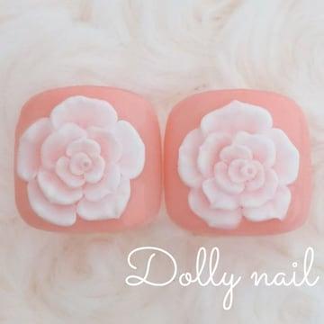 みぢょ!ペディチップ親指用2枚エレガント薔薇ローズ3Dバラ桜色ピンク