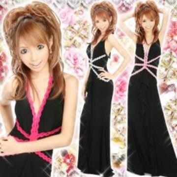 キャバ嬢ゴージャス&エレガント★刺繍レース*ロングドレスブラックx濃いピンク