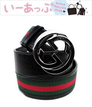グッチ ベルト 茶×緑×赤 バックル シルバー GUCCI 極美品 k97