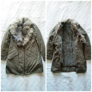 ROYALPARTYリアルファー暖かインナーカーキトレンチモッズコート