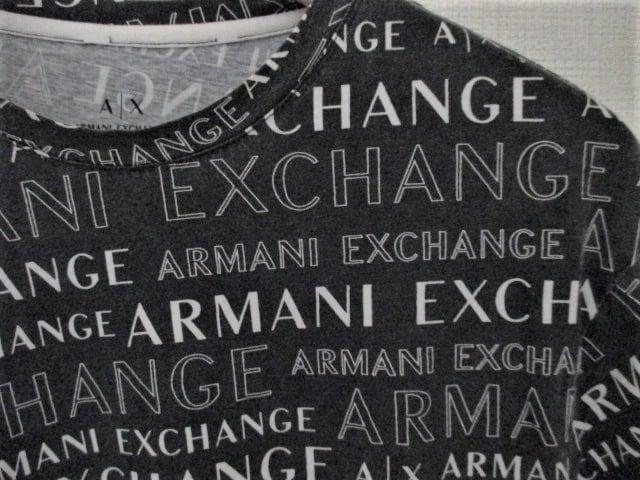 ☆アルマーニ エクスチェンジ 総ロゴ Tシャツ 半袖/メンズ/XL < ブランドの