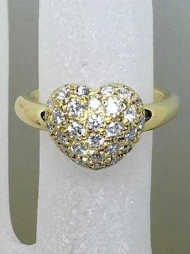 ★非常に可愛らしいハート型ダイヤパヴェリング D0.52ct K18★
