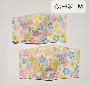 早い者勝ち☆D13 インナーマスク 大人用M 2枚セット(^.^)ハンドメイド カラフル花柄
