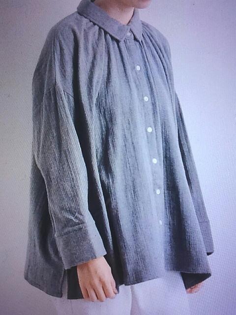 ●08mab●Wガーゼ ギャザーシャツ 新品 杢グレー < 女性ファッションの