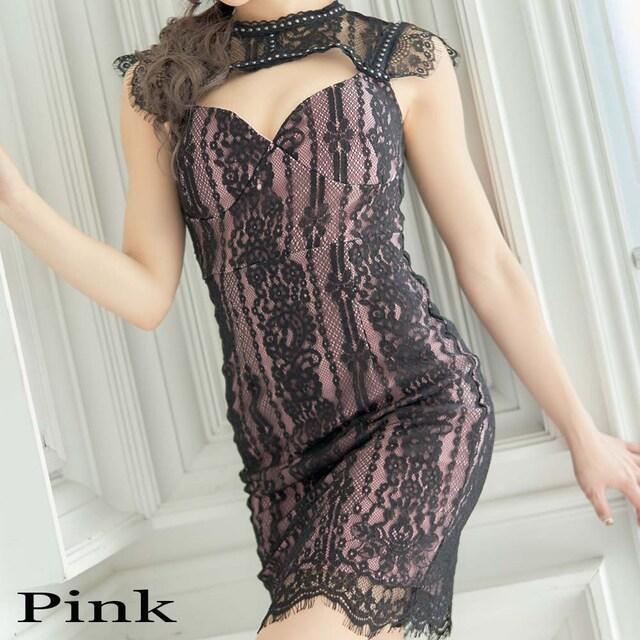 胸元セクシー レース 谷間魅せ キャバドレス ミニドレス チャムドレス < 女性ファッションの