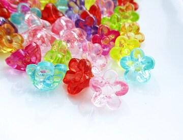 花ビーズ200個ボタン型クリア