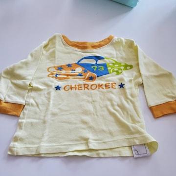 クリームに車柄の長袖Tシャツ80