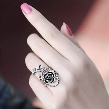 特別提供品490円★インパクトのある透かし彫りリング 薔薇 17号