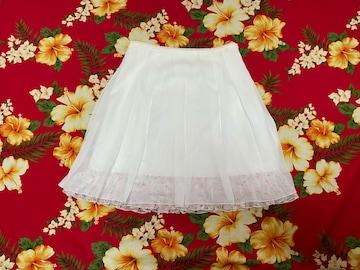 レストローズ☆清楚ホワイトスカート☆裾バラフリル☆
