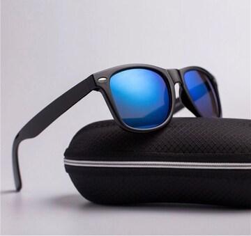 サングラス ミラー ウェリントン UV400 男女兼用 ブルー