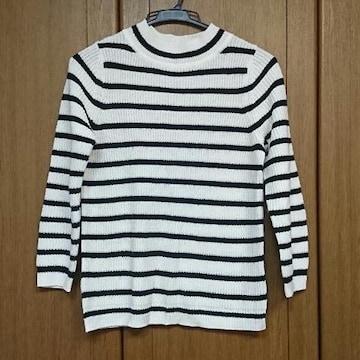 GU/ジーユー/ボーダーニットトップス/七分袖/白×黒/L