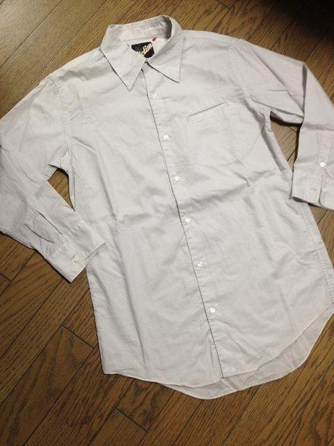 美品Victim 刺繍入り7分丈シャツ グレー 日本製 ヴィクティム  < ブランドの