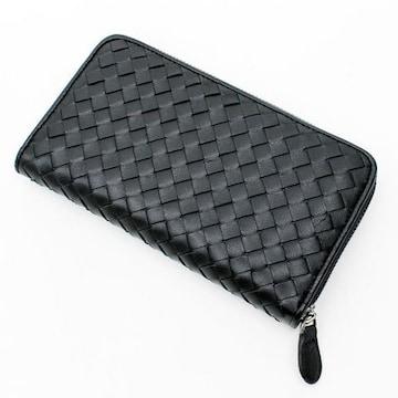 編み込みデザイン レザーメッシュ長財布 ブラック