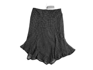 新品 スコットクラブ 定価13000円 黒 シフォン 膝丈 スカート