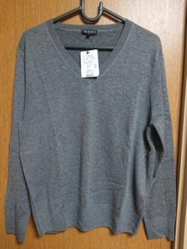 INDIVI昨季新品グレーVネックニットセーター大きいサイズ4213号15号ウール混LL