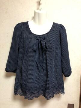 groveドット袖刺繍リボンプルオーバー紺色ネイビーMカットワーク