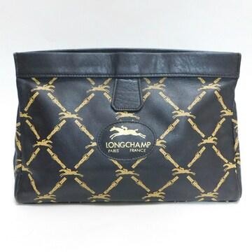 Longchampロンシャン クラッチバッグ濃茶ロゴ柄 良品 正規品