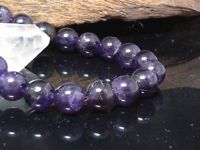 天然アメジスト8ミリ数珠§紫水晶数珠 < 男性アクセサリー/時計の