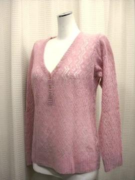 【イーストボーイ】ピンクのすかし編みセーター