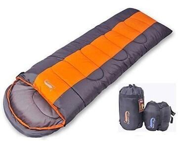 寝袋 封筒型 軽量 アウトドア オレンジ 1kg