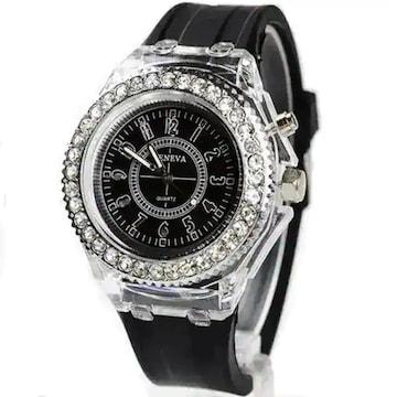 超お買得★650円★GenevaレインボーLED腕時計 黒動作保証