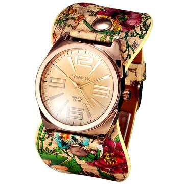 特A品 新品1円〜★送料無料★花柄ピンクゴールド アイボリーレザー腕時計