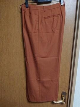 INDIVI昨季美品テラコッタウール混ワイドパンツ大きいサイズ4213号15号