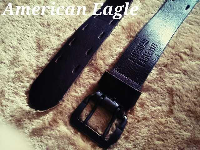 【アメリカンイーグル】Vintage AEOパーフォレイトレザーベルト 32/D.Brown < ブランドの