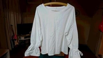 GU  バルーン袖 プルオーバー  白  XL