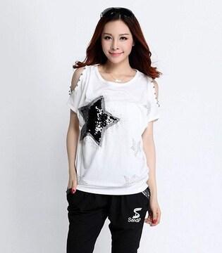 キラキラスター!!半袖スパンコールTシャツ(L寸・白)