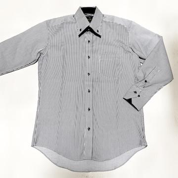 【美品】ストライプ柄ダブルカラー長袖シャツ/メンズM-80/白×黒