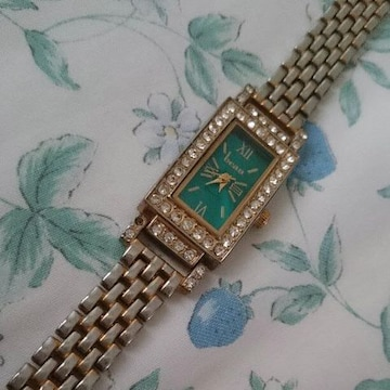 時計 ゴールド グリーン ラインストーン