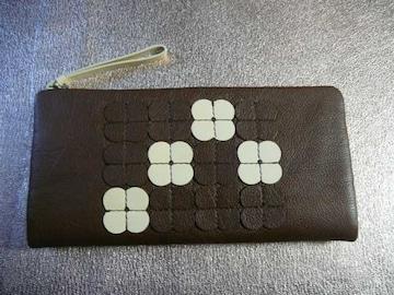 オーラカイリー牛革長財布財布フラワータイル ブラウン