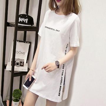 ★ 新品 【ホワイト/XLサイズ】カットソー Tシャツ ロング丈