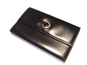 ☆良品☆送料込☆カルティエ ゴールドパンサー 長財布 ブラック