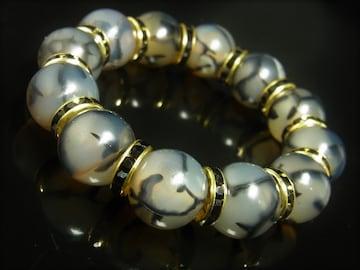 魔除け 縁起物 龍紋石 ドラゴンアゲート ブレスレット 16ミリ 数珠