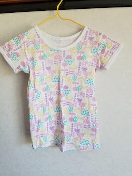 ピンク、緑、黄、紫の色々模様の半袖シャツ90