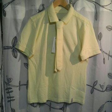 レイモンドバスキア ネクタイ付き ポロシャツ イエロー 未使用 M