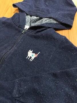 フタフタ futa futa 白猫 刺繍 紺色フード付きパーカー 110