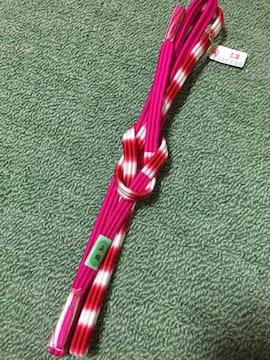 帯締め 三本一体 濃ピンク×赤×白 正絹