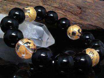 金四神獣水晶オニキス12ミリ数珠