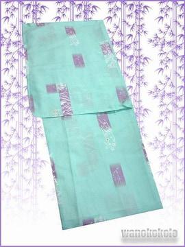 【和の志】夏の洗える着物◇絽Lサイズ◇青緑系・古典柄◇19