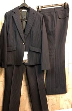 新品☆15号股下77紺ストライプ仕事パンツスーツ2パンツ☆j722