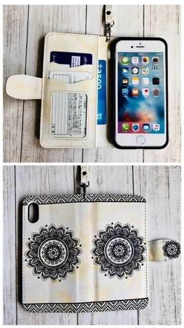 iPhoneX 手帳型ケース フラワー エンボス型押し+フィルム  白色 < 家電/AVの