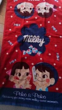 ミルキー!不二家!可愛い!愛らしい!新品!コンパクトバスタオル!
